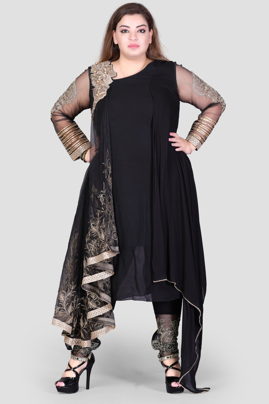 Women Black dress with net hand work and golden design patches.
